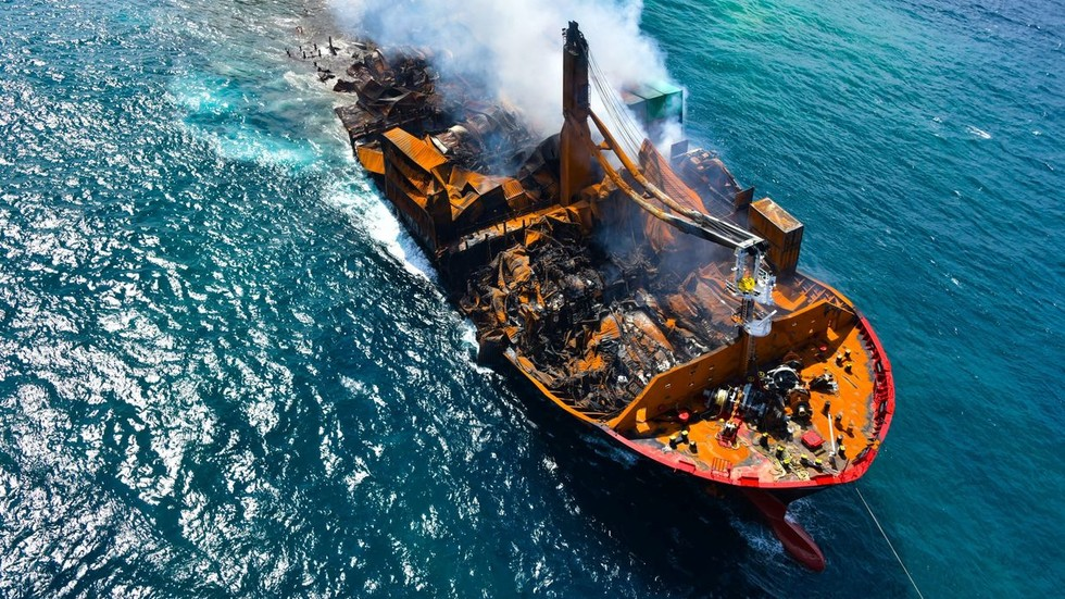 Captain of burnt, sunken Sri Lankan container ship arrested after environmental disaster and oil spill fears