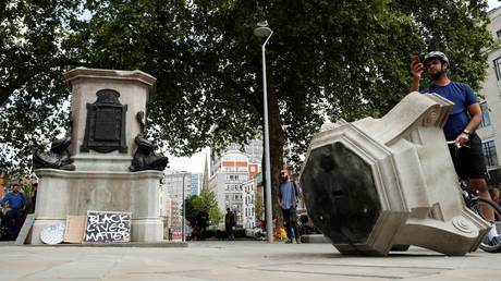 FILE PHOTO: The base of the statue of Edward Colston, after protesters pulled it down, Bristol, Britain, June 8, 2020