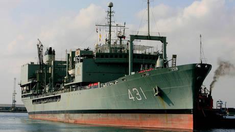 FILE PHOTO. The IRIS Kharg supply navy ship.