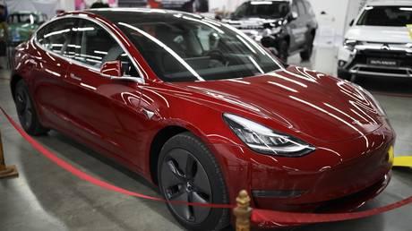 Car Tesla Model 3 at the exhibition of transport and logistics of the South of Russia 'Transport-2019' in Krasnodar. © Sputnik / Vitaliy Timkiv
