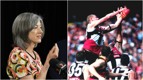 FILE PHOTOS: (L) South Australia's chief public health officer Nicola Spurrier speaks at an event in Adelaide; (R) AFL players compete for the ball during a match between Adelaide and St. Kilda.