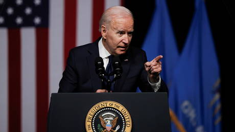 Joe Biden gestures as he delivers remarks during a visit to the Greenwood Cultural Center in Tulsa, Oklahoma, June 1, 2021 © Reuters / Carlos Barria