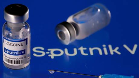 "FILE PHOTO: Vials labeled ""Sputnik V coronavirus disease (COVID-19) vaccine"", March 24, 2021."