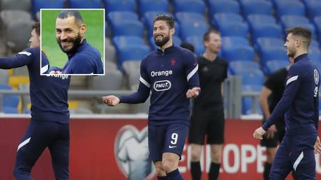 Giroud made the joke after Benzema returned to the national team. © Reuters