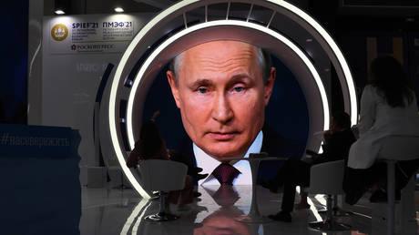 Russian President Vladimir Putin is seen on a screen as he delivers his speech at the St Petersburg International Economic Forum (SPIEF). © Sputnik / Alexei Danichev