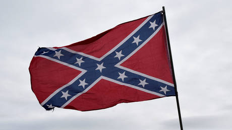 A Confederate flag displayed during a rally held by Sons of Confederate Veterans