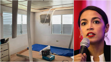 FILE PHOTOS: (L) A photo shared by New York Rep. Alexandria Ocasio-Cortez shows her grandmother's home in Puerto Rico; (R) Ocasio-Cortez speaks at an event in the Bronx, New York.