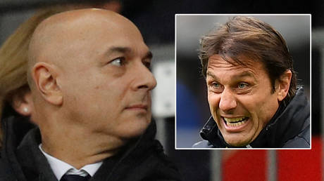 Spurs chief Daniel Levy (left) appears to have failed to lure Antonio Conte to the club © Phil Noble / Reuters | © Daniele Mascolo / Reuters