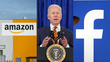 Joe Biden, seen between Amazon and Facebook's logos © Reuters / Thilo Schmuelgen, Kevin Lamarque, and Regis Duvignau