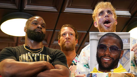 Tyron Woodley (left) plans to train with Floyd Mayweather (inset) ahead of his fight with Jake Paul © Jasen Vinlove / USA Today Sports via Reuters
