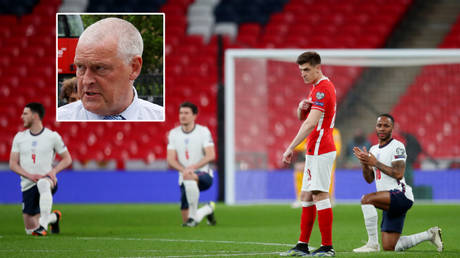 Lee Anderson MP (inset) opposes England players taking the knee © Catherine Ivill / Reuters | © John Sibley / Reuters