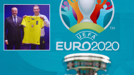 Ukraine have unveiled a new shirt for Euro 2020 © Peter Nicholls / Reuters | © Facebook / Andrii Pavelko