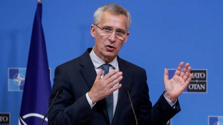 NATO Secretary-General Jens Stoltenberg speaks during a press conference with Lithuanian Prime Minister Ingrida Simonyte after a meeting at the NATO headquarters in Brussels, Belgium, June 3, 2021. © Stephanie Lecocq /Pool via REUTERS