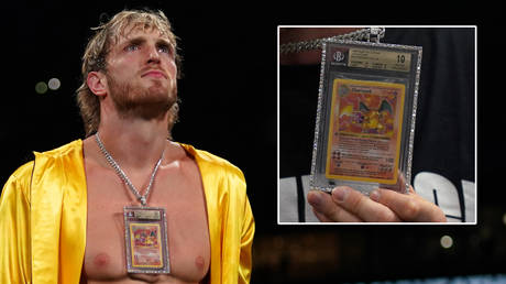 Logan Paul wore a Pokemon card to his boxing match with Floyd Mayweather © Jasen Vinlove-USA TODAY Sports
