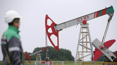 A worker looks at a pump jack at an oil field Buzovyazovskoye north from Ufa, Bashkortostan, Russia