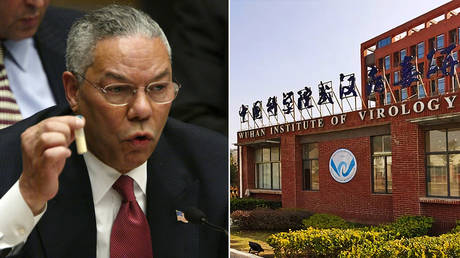(L) Colin Powell © Mario Tama/Getty Images; (R) Wuhan Institute of Virology © Wikipedia