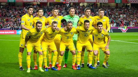 Ukrainian Team during the Qualifiers - Group B to Euro 2020 football match between Portugal vs Ukraine. © Henrique Casinhas/SOPA Images/LightRocket via Getty Images