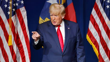 45th US President Donald Trump at the North Carolina GOP convention dinner in Greenville, June 5, 2021.