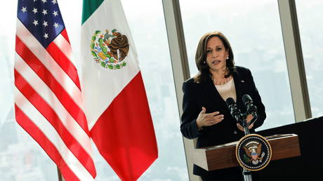 Vice President Kamala Harris delivers remarks during a press conference at the Sofitel Mexico City Reforma hotel in Mexico City, Mexico, June 8, 2021.