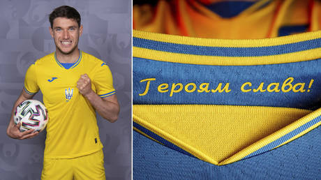 """(L) Roman Yaremchuk of Ukraine poses during the official UEFA Euro 2020 media access day on May 31, 2021 in Kharkov, Ukraine. © Oliver Hardt - UEFA/UEFA via Getty Images; (R) A slogan reads """"Glory to the heroes!"""" on Ukraine's new national team shirt. © Facebook@ Andrii Pavelko via REUTERS"""