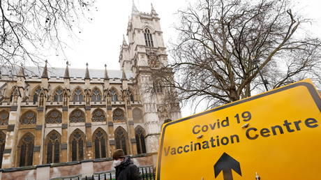 FILE PHOTO. A sign is seen outside a vaccination centre at Westminster Abbey, in London, Britain.