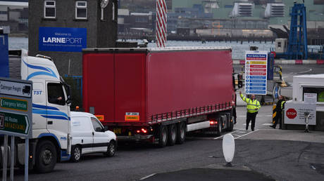 Port officers inspect vehicles at a harbour checkpoint on November 14, 2018 in Larne, Northern Ireland