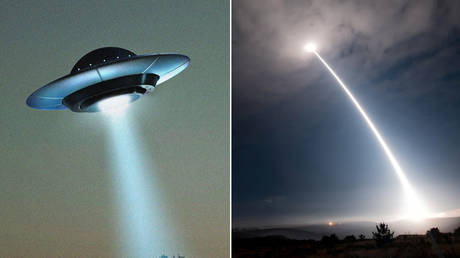An artist's mockup of a UFO, seen alongside a Minuteman III intercontinental ballistic missile launch from Vandenberg Air Force Base, California, August 2, 2017 © Pixabay and Reuters / US Air Force