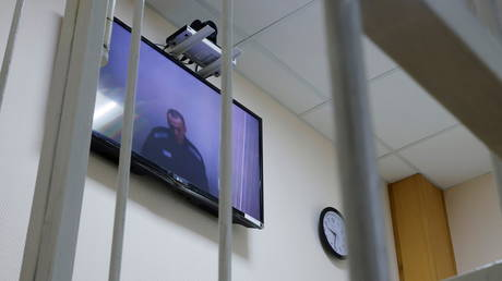Russian opposition activist Alexei Navalny appears via video link during a court hearing at the Petushki district court, Russia May 26, 2021.