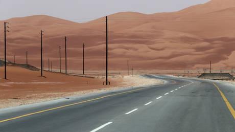 The highway towards Aramco's Shaybah oilfield in the Empty Quarter, Saudi Arabia