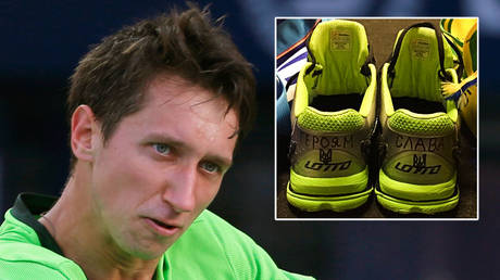 'So much for no politics in football': Ukrainian tennis ace slams UEFA over shirt saga with Russia by showing slogans on his shoes