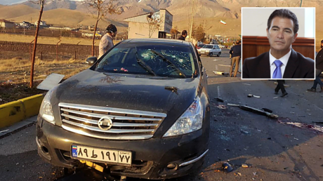 The damaged car of Iranian nuclear scientist Mohsen Fakhrizadeh after it was attacked near the capital Tehran. © AFP / IRIB NEWS AGENCY; (inset) Yossi Cohen. © Reuters / Gali Tibbon.