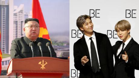 Kim Jong-un, seen alongside members of K-Pop group BTS © Reuters / KCNA and Heo Ran