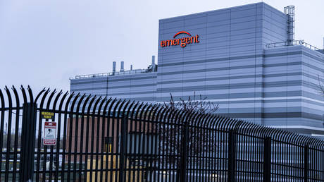 FILE PHOTO. The exterior view of the Emergent BioSolutions plant in Baltimore, Maryland