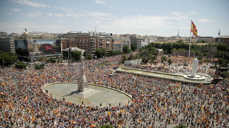 People demonstrate at Colon Square in Madrid, Spain on June 13, 2021.