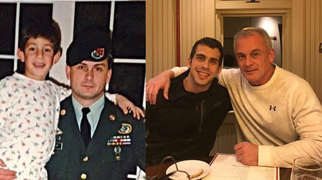 This undated combination of photos courtesy Rudy Michael Taylor shows his father, former US special forces member Michael Taylor and his brother Peter, posing together years apart. © AFP / FAMILY HANDOUT.