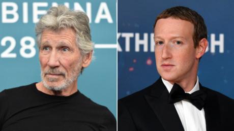 (L) Roger Waters. © AFP / ALBERTO PIZZOLI; (R) Mark Zuckerberg. © AFP / JOSH EDELSON.