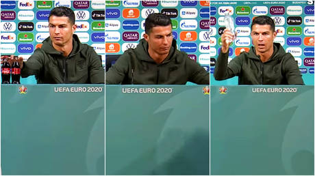Cristiano Ronaldo has been on cheeky form at a press conference for EURO 2020 © YouTube / Beanyman Sports