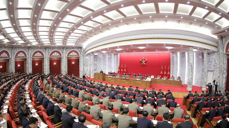A general view during the opening of the 3rd Plenary Meeting of the 8th Central Committee of the Workers' Party of Korea (WPK), in Pyongyang, North Korea, in this undated photo released on June 16, 2021 by North Korea's Korean Central News Agency (KCNA). © KCNA/via REUTERS