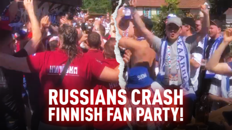 Russian and Finland fans massed in St. Petersburg ahead of their Euro 2020 meeting. © RT Sport