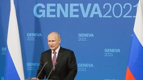 Russian President Vladimir Putin at a press conference following talks with US President Joe Biden in Geneva.