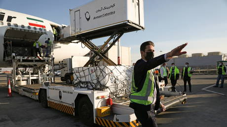 Cargo personnel work as the first shipment of Russia's Sputnik V vaccine against the coronavirus disease (COVID-19) is seen at Imam Khomeini Airport in Tehran, Iran (FILE PHOTO) © Maryam Kamyab/WANA (West Asia News Agency) via REUTERS