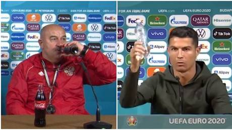 Russia manager Stanislav Cherchesov swigged on some Coke after Ronaldo rejected the brand. © Twitter