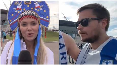 There were differing fortunes for Russian and Finnish fans in St. Petersburg. © Ruptly / Twitter @tyler_lj