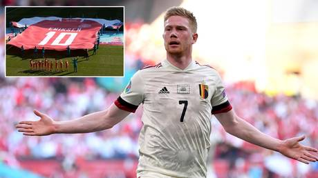 Kevin De Bruyne returned to fire his team into the Euro 2020 knockout stages. © Reuters