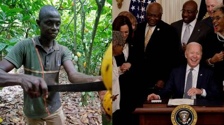 Left: A worker on the cocoa plantation in Ivory Coast (file photo); Right: US President Joe Biden signs the Juneteenth National Independence Day Act into law, June 17, 2021.