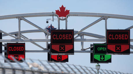 FILE PHOTO: A Canadian maple leaf is seen on The Peace Bridge, which runs between Canada and the United States, over the Niagara River in Buffalo, New York.