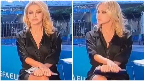 Paola Ferrari was forced to deny that she'd bared all on live TV. © Twitter
