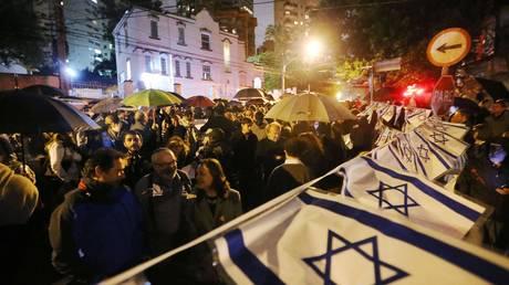 FILE PHOTO. Jewish groups in Sao Paulo attend a a pro-Israeli protest. ©Daniel Teixeira / Estadao Conteudo via Global Look Press