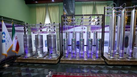 FILE PHOTO: Iranian centrifuges on display during Iran's National Nuclear Energy Day in Tehran. ©Iranian Presidency Office / WANA Handout via REUTERS