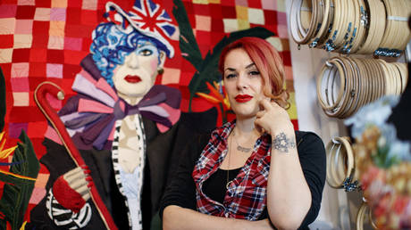 German artist Jess de Wahls poses at her studio in south London on March 8, 2019.